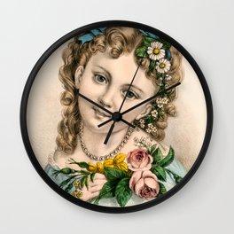 Little Flower Girl Wall Clock