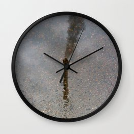 Factory Chimney  Reflection in Water Wall Clock