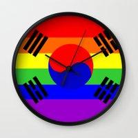 korea Wall Clocks featuring south korea gay flag by tony tudor