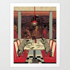 Raccoon Diners Art Print