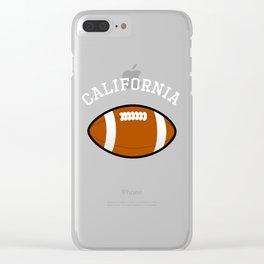 California American Football Design white font Clear iPhone Case