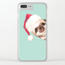 Santa Sneaky Baby Sloth Clear iPhone Case
