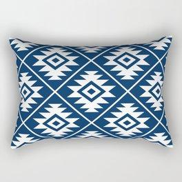 Aztec Symbol Ptn White on Dk Blue Rectangular Pillow