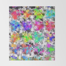 colorful psychedelic splash painting abstract texture in pink blue purple green yellow red orange Throw Blanket