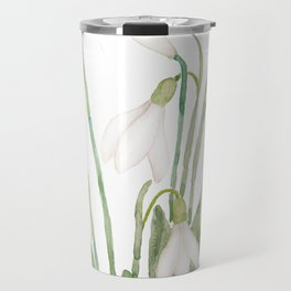 white snowdrop flower watercolor Travel Mug