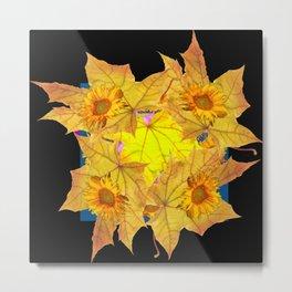 Golden Yellow Fall Leaves Sunflower Black Design Pattern Art Metal Print