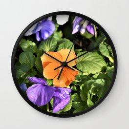 Colorful Pansies Wall Clock