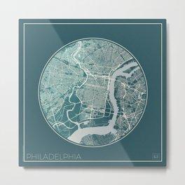 Philadelphia Map Planet Metal Print