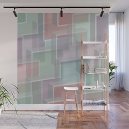 Lucite Blocks Pastel pink, green, blue, purple Wall Mural