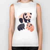 pandas Biker Tanks featuring Somos Pandas by Pamku