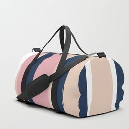 Festive, Abstract, Colorful Stripes, Pink and Blue Duffle Bag