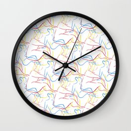 Nude Figures in Primary Colors Wall Clock