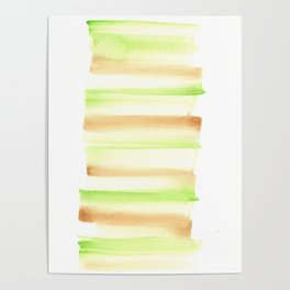 [170105] 5 Color Study Green Brown  |Watercolor Brush Stroke Poster