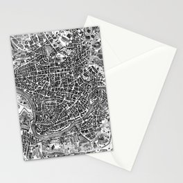 Vintage Map of Rome Italy (1721) BW Stationery Cards