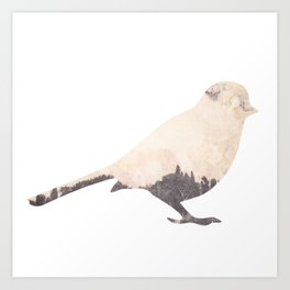 pink sky bird with trees Art Print
