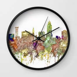 Lincoln, Nebraska Skyline - Faded Glory Wall Clock