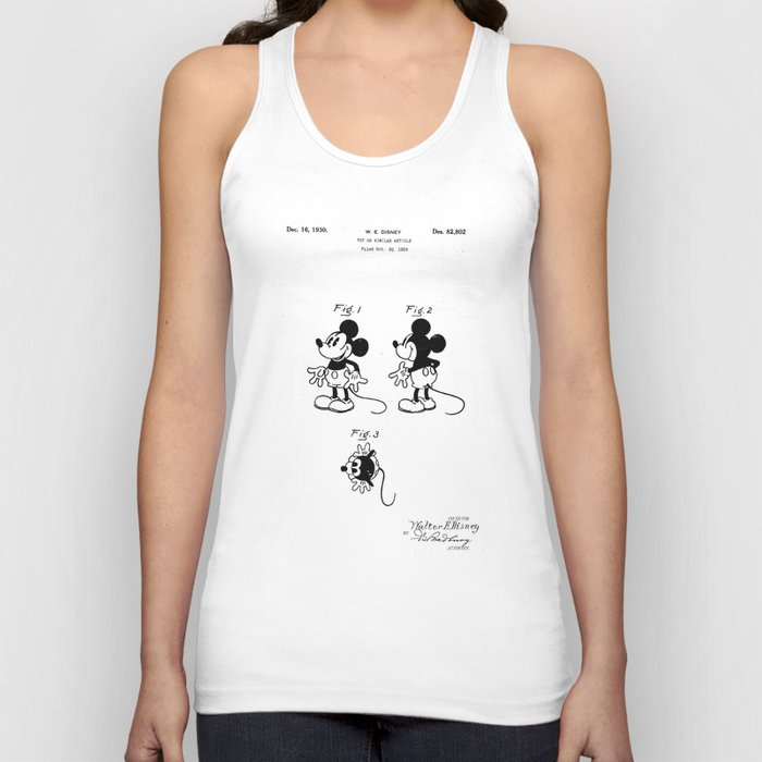 d0249ab093523 Mickey Mouse Patent drawing Unisex Tank Top by patentdrawing