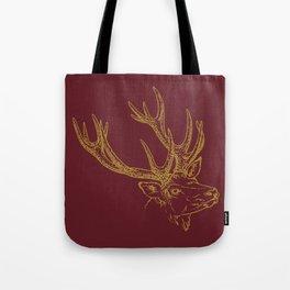 Deer Burgundy Gold Tote Bag
