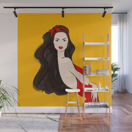 Fashion Brunette Girl in Red Wall Mural