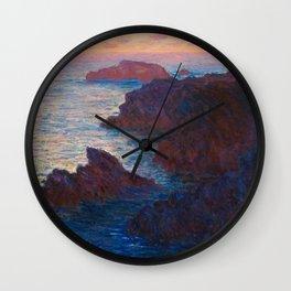 Claude Monet Impressionist Landscape Oil Painting Sunset At Sea Cliffs Ocean Cliff Landscape Wall Clock