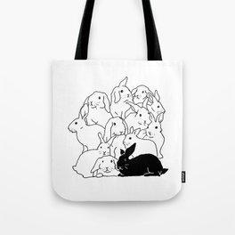 Black & White Rabbits Tote Bag