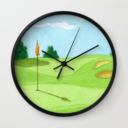 Golf Course Putting Green Watercolor Painting Wall Clock