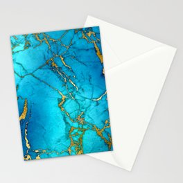 Gold And Teal Blue Indigo Malachite Marble  Stationery Cards
