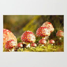 Beautiful but toxic - Fly agaric - Amanita - Autumn illustration - #society6 #buyart Rug