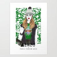 kenzo Art Prints featuring Kenzo Girl by Natalia Madej