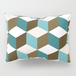 Cubes Pattern Teals Browns Cream White Pillow Sham