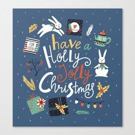 Christmas rabbits Canvas Print