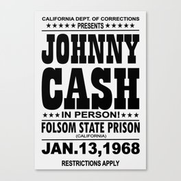 1968 Folsom State Prison Johnny Cash Vintage Tour Poster Canvas Print