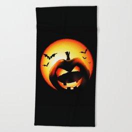 Smile Of Scary Pumpkin Beach Towel