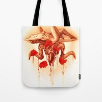 baphomet Tote Bags featuring baphomet by Maria Catherine