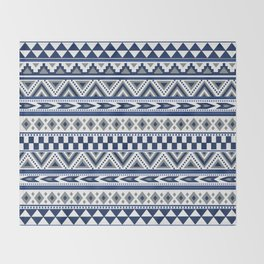 Tribal Art Pattern Navy Blue Silver White Throw Blanket