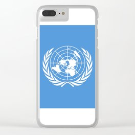 Flag on United nations -Un,World,peace,Unesco,Unicef,human rights,sky,blue,pacific,people,state,onu Clear iPhone Case