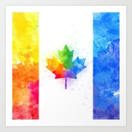 maple leaf flag //splash Art Print