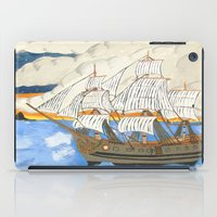 pirate ship iPad Cases featuring Pirate Ship At Sea by J&C Creations