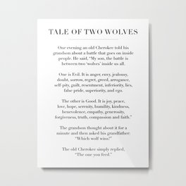 The Tale of Two Wolves Metal Print