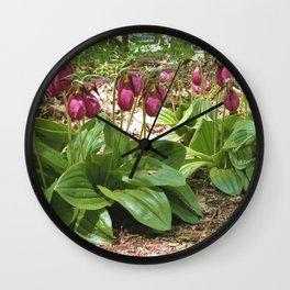 New England Wild Orchid Lady Slipper Flowers Wall Clock