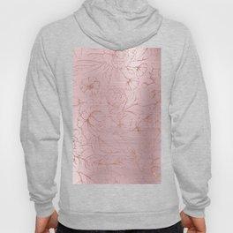 Blush pink rose gold glitter metallic gradient floral Hoody