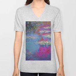 Water Lillies - Claude Monet (plastic pink) Unisex V-Neck