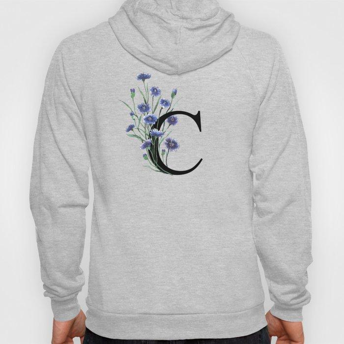 Letter 'C' Cornflower Typography Hoody