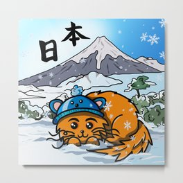 Cute cartoon cat in the snow at Mount Fuji Metal Print