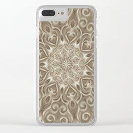 Beige swirl mandala Clear iPhone Case