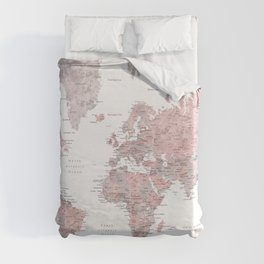 Dusty pink and grey detailed watercolor world map Duvet Cover