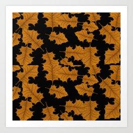 Fall Leaves on Black Art Print