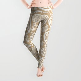 Paisley (White & Tan Pattern) Leggings