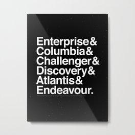 Space Shuttle Helvetica Metal Print