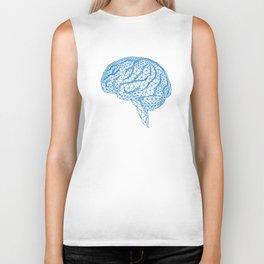 blue human brain Biker Tank